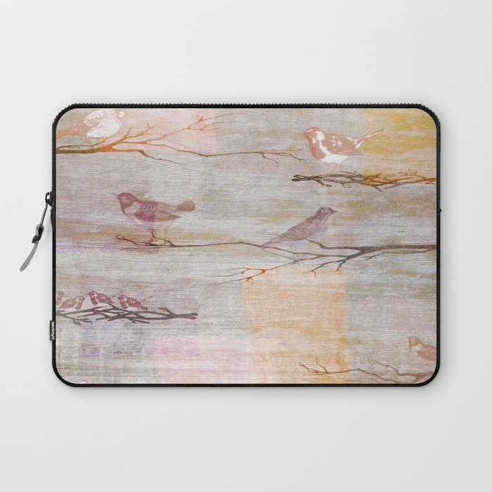 Golden Pink Birds Laptop Sleeve