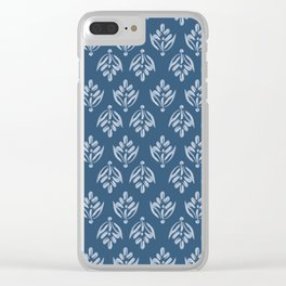 Simple Leafy pattern blue Clear iPhone Case