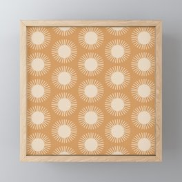 Sun Pattern - Orange Framed Mini Art Print