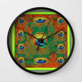 Abstracted Chartreuse-Orange Peacock Patterns Art Wall Clock