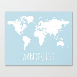 World Map - Wanderlust Quote - Modern Travel Map in Light Blue With White Countries Canvas Print
