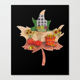 Maple Leaf Fall (on black) Canvas Print