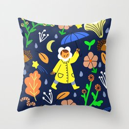 Rainy Walk Throw Pillow