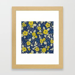Yellow & Blue Floral Pattern Framed Art Print