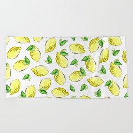 Lemon Watercolor Pattern Beach Towel