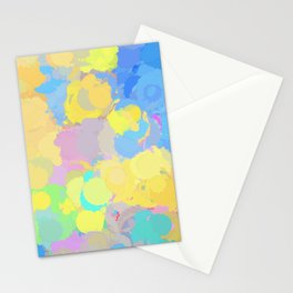 Colorful splatter, yellow-blue circles Stationery Cards