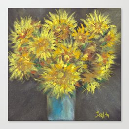 Still-life - bouquet of dandelions flowers in vase on a background drawing by pastel Canvas Print