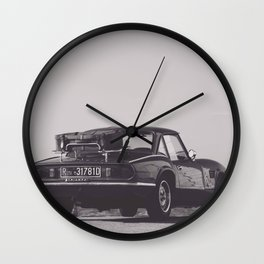 Supercar details, british triumph spitfire, black & white, high quality fine art print, classic car Wall Clock