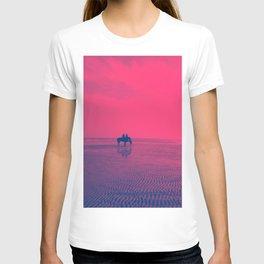 Horses on Rimini Beach Italy Purple Pink Sky T-shirt