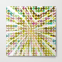 geometric circle abstract pattern in yellow pink blue Metal Print