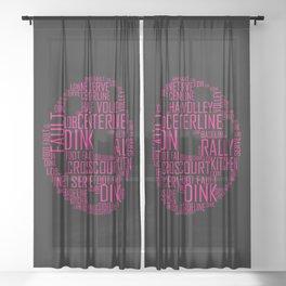 Pink Pickleball Ball Art Words Gift Sheer Curtain