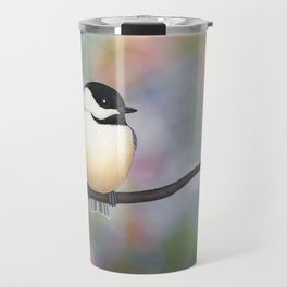 black capped chickadee on a branch Travel Mug