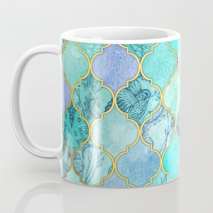Cool Jade & Icy Mint Decorative Moroccan Tile Pattern Coffee Mug