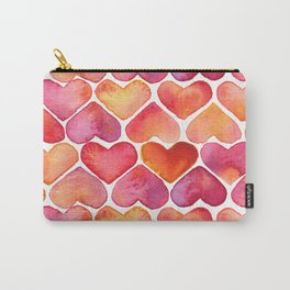 Oragne and Pink Watercolor Love Heart Pattern Carry-All Pouch
