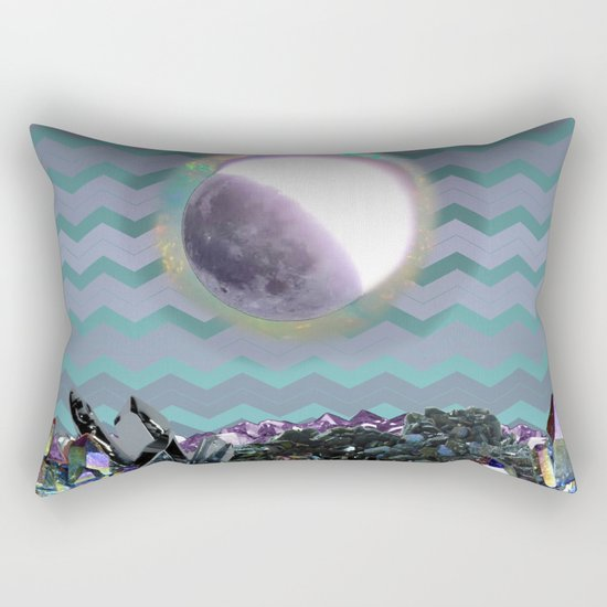 Moon Crystal Chevron Pattern Purple and Teal Rectangular Pillow