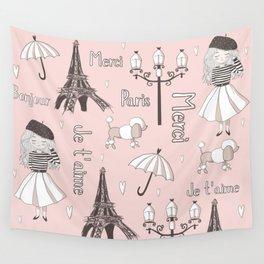 Paris Girl - Pink Wall Tapestry