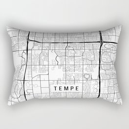 Tempe Map, Arizona USA - Black & White Portrait Rectangular Pillow