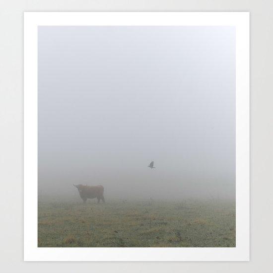 Cow and Crow Art Print