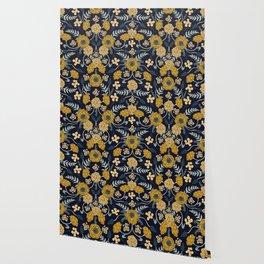 Navy Blue, Turquoise, Cream & Mustard Yellow Dark Floral Pattern Wallpaper