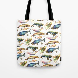 Whales and a Little Squid Tote Bag