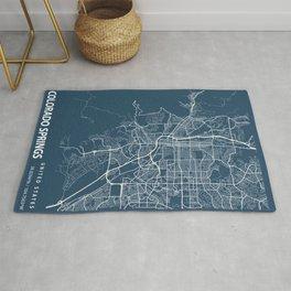 Colorado Springs Blueprint Street Map, Colorado Springs Colour Map Prints Rug