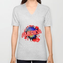 America Red White And Blue Cartoon Exclamation Unisex V-Neck