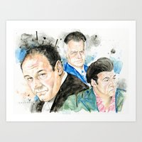 sopranos Art Prints featuring The Sopranos - Tony, Paulie & Silvio by Drumond Art