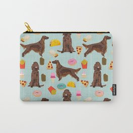 Irish Setter junk food pizza donuts dog breed cute custom pet portrait for dog lovers Carry-All Pouch