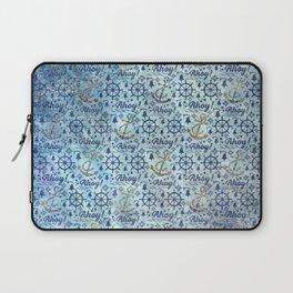 Vintage - Blue Ahoy Time for sailors Laptop Sleeve