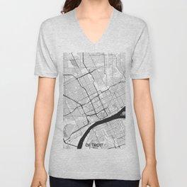 Detroit Map Gray Unisex V-Neck