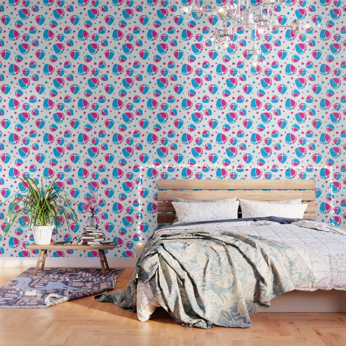 Pattern With Baby Feet And Hearts In Pink And Blue Color Wallpaper By Sashica