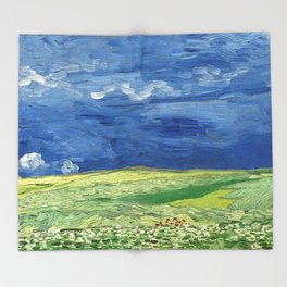 Wheatfield under thunderclouds by Vincent van Gogh Throw Blanket