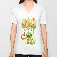 yoshi V-neck T-shirts featuring Yo Yoshi! by Krissy Diggs