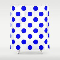 polka dots Shower Curtains featuring Polka Dots (Blue/White) by 10813 Apparel