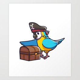Parrot pirate captain treasure box children gift Art Print