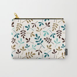 Assorted Leaf Silhouettes Teals Brown Gold Cream Ptn Carry-All Pouch