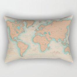 Vintage Style World Map - Nautical Print Rectangular Pillow