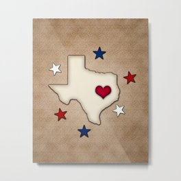 Texas Red Heart Metal Print