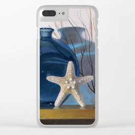 Still life with a blue vase and a starfish Clear iPhone Case