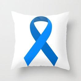 Blue Awareness Support Ribbon Throw Pillow