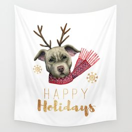 Christmas Reindeer Pit Bull with Faux Gold Fonts Wall Tapestry
