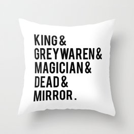 gangsey (the raven cycle) // white Throw Pillow