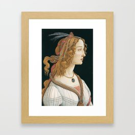 Idealized Portrait of a Lady by Sandro Botticelli, 1480 Framed Art Print
