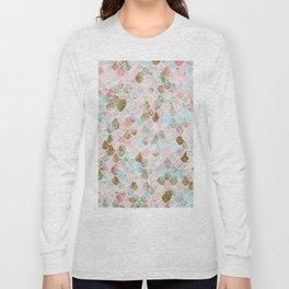 Wonky Watercolor Sea Foam Glitter Mermaid Scales Long Sleeve T-shirt