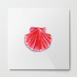Red Clam Shell Metal Print