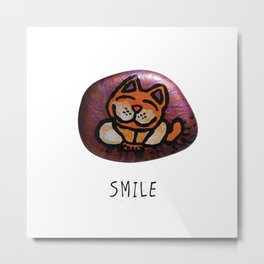 Smile Rock Orange Cat Painted Rock by annmariescreations Metal Print