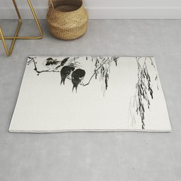 Wantanabe Seitei - Perched magpies Rug