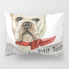 French bulldog with newspaper, bonjour Pillow Sham