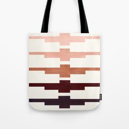 Mid Century Minimalist Ancient Aztec Inca Geometric Pattern Watercolor Raw Umber Colorful Gouache Pa Tote Bag