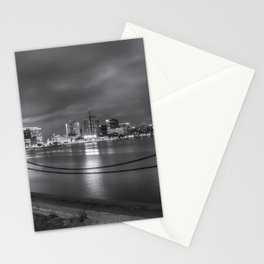 Norfolk Skyline II in Black and White Stationery Cards